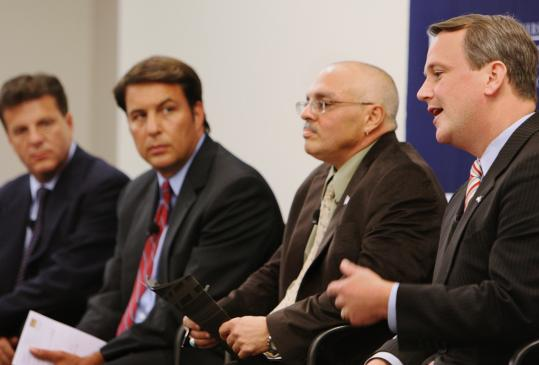 From left, independent Paul Loscocco, Republican Richard R. Tisei, Green-Rainbow candidate Richard Purcell, and Democratic incumbent Timothy P. Murray took part in the lieutenant governor's debate at the Rappaport Center at Suffolk Law School.