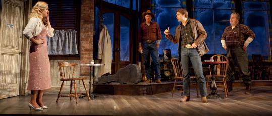 """Nicole Rodenburg, Noah Bean (center), flanked by Stephen Lee Anderson and Adam LeFevre, in Nicholas Martin's production of """"Bus Stop,'' by William Inge."""