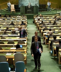 US and European diplomats left the UN General Assembly during a speech by Iran's president, Mahmoud Ahmadinejad.