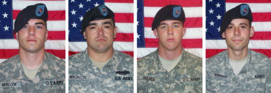 Those charged with murder include (from left), Corporal Jeremy Morlock, Specialist Michael Wagnon, Private First Class Andrew Holmes, and Private First Class Adam Winfield.