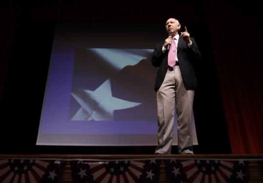 Democrat Bill White talked to high school students in San Antonio last week during his campaign for governor.