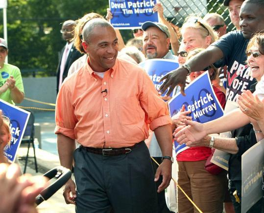 Governor Deval Patrick held a rally at Titus Sparrow Park in the South End, where he greeted voters and touted his record.