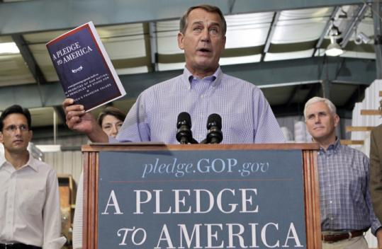 "House Minority Leader John Boehner plugged the GOP's ""A Pledge to America'' plan Thursday, and President Obama skewered the plan yesterday in his weekly radio address."