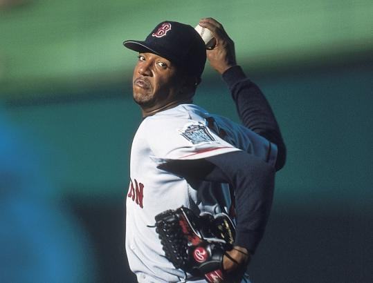 Pedro Martinez on the mound for the Red Sox.