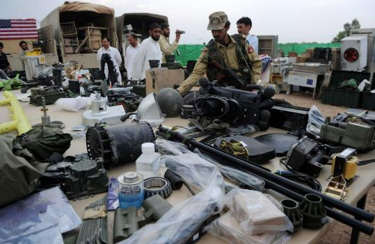 NATO military equipment said to have been found during raids in Jamrud, northwestern Pakistan, was displayed yesterday.