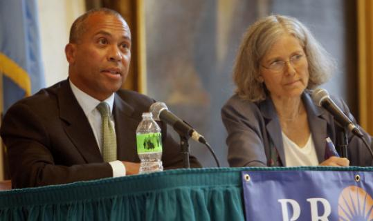 Governor Deval Patrick and Jill Stein at yesterday's gubernatorial debate at Faneuil Hall.