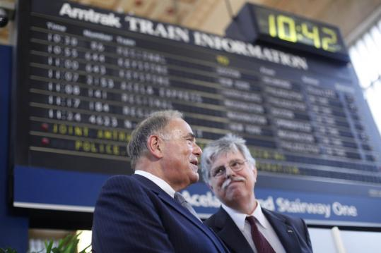 Governor Edward G. Rendell (left) of Pennsylvania and Joseph Boardman, Amtrak president, unveiled their vision for high-speed East Coast service yesterday at a Philadelphia station.