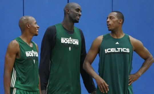 The Big Three — Ray Allen, Kevin Garnett, and Paul Pierce — were all smiles at the first practice.