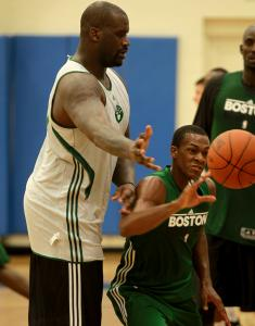 Shaquille O'Neal and Rajon Rondo get some work in during their first practice together.