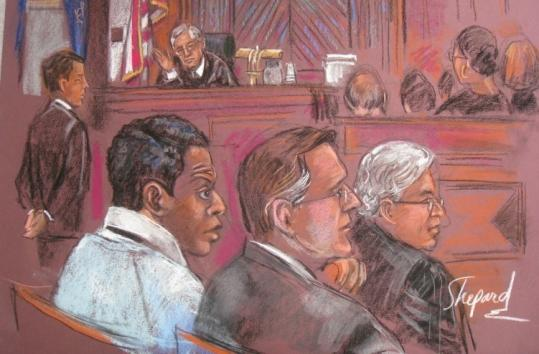 An artist's sketch shows Ahmed Khalfan Ghailani (second left) during jury selection in US District Court in Manhattan.