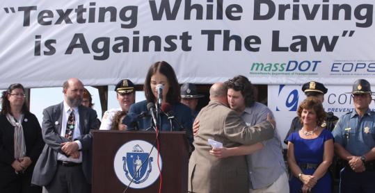 Rachel Kaprielian, registrar of motor vehicles, discussed the new law targeting distracted driving, in Weymouth yesterday.