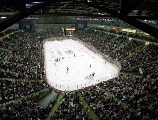 Odyssey Arena holds about 5,500 for hockey, and the Bruins should draw quite a crowd for their exhibition game Saturday.