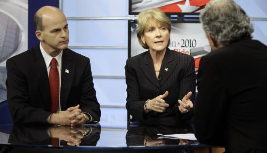 James McKenna and Martha Coakley squared off in a televised debate hosted by Jim Braude at NECN. Yesterday's debate was a first for McKenna, a former prosecutor who mounted a successful write-in campaign for the Republican nomination.