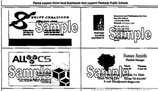 A sampling of ads that would be displayed on permission slips and other notices sent home with Peabody students.