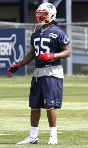 Patriots rookie Brandon Spikes (above) has just three games under his belt, but he is quickly benefiting from the veteran guidance of teammates such as Vince Wilfork and Gerard Warren.