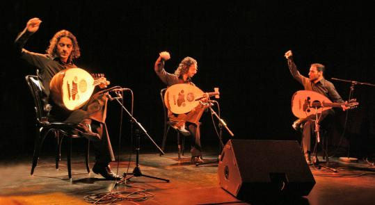 From left: Adnan, Wissam, and Samir Joubran, the brothers of Le Trio Joubran, often collaborated with Mahmoud Darwish prior to the Palestinian poet's death in 2008.