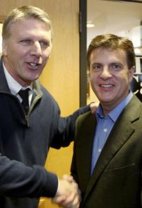 Timothy Cahill (left) in February with then-running mate Paul Loscocco.