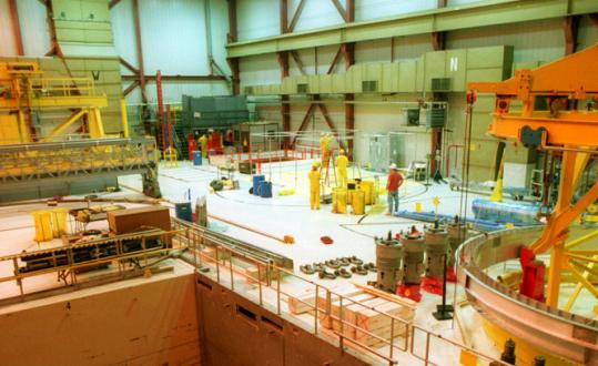 A view of the refueling floor inside the Pilgrim nuclear power plant in Plymouth, taken February 2001.