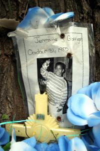 A memorial for Jermaine Goffigan, killed in 1994.