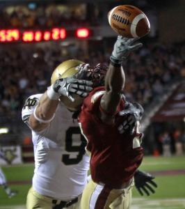BC cornerback DeLeon Gause had this second-half pass to Notre Dame tight end Kyle Rudolph well covered.