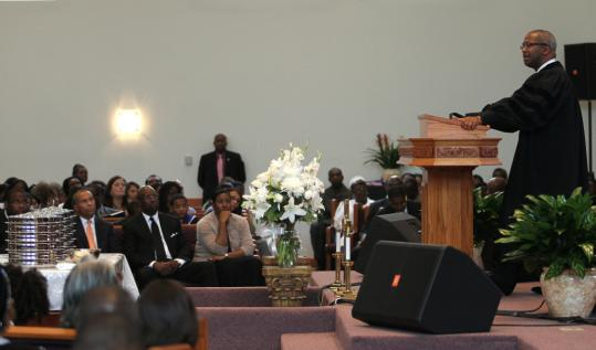 Bishop John M. Borders III preached yesterday at Morning Star Baptist Church in Mattapan, near the shooting site. He asked congregants to help police and pray for peace in Boston.