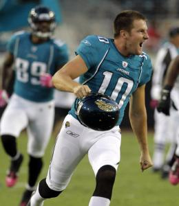 After watching his winning kick clear, the Jaguars&#8217; Josh Scobee was walking &#8212; and running &#8212; on air.