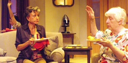 """Stephanie Clayman (far left), Chloe Leamon (center), and Alice Duffy in the Boston Playwrights' Theatre production of """"Five Down, One Across.''"""
