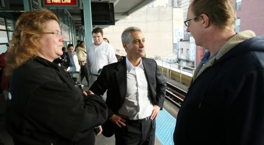 Rahm Emanuel, President Obama's former chief of staff, greeted Chicago voters yesterday as he campaigned at an L station.