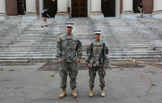 Christopher Higgins and Nicole Unis, ROTC students at Harvard, must travel to MIT to take corps classes.