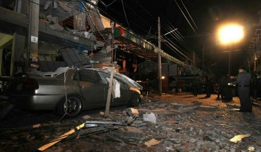 Thai police said a blast at a residential building near Bangkok may have been caused by a bomb.