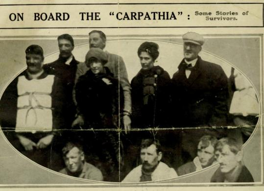 A photo of the Titanic survivors included Laura Francatelli, second from right. Standing to her right were her employers, Sir Cosmo Duff-Gordon and Lady Lucy Duff-Gordon.
