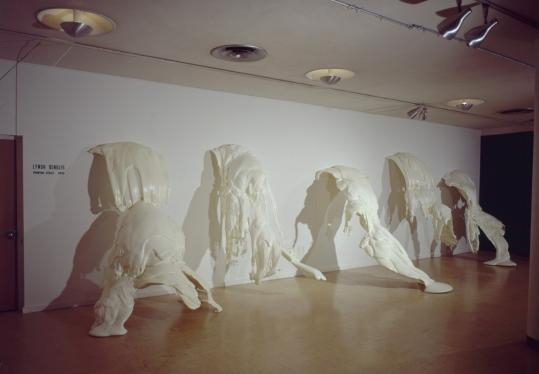 "Lynda Benglis's 1971 installation ""Phantom'' is a series of five spilled polyurethane foam sculptures. Every two minutes the lights in the gallery go out and the sculptures — due to phosphorescent pigment scattered through the foam — give off a green glow."