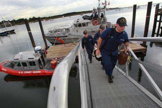 A Coast Guard crew arrives in Newburyport, where the first vessel to enter active service was built for the US Revenue Cutter Service in 1791.