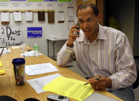 Ajayi Harris made calls on behalf of Democrats in a Worcester field office.