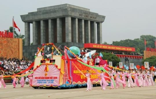 A float passed Ho Chi Minh Mausoleum in Hanoi yesterday during a 1,000th birthday celebration for the capital.