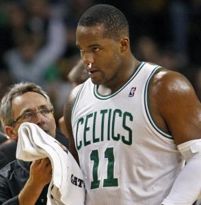 Glen Davis's nose was bloodied on a hard collision in the second quarter.