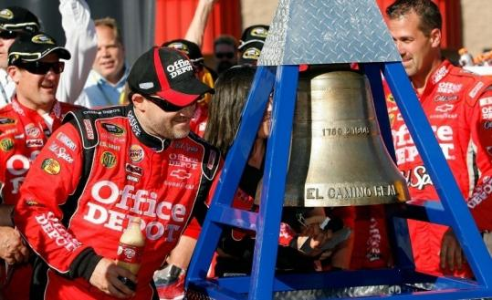Tony Stewart rang up another Sprint Cup victory yesterday and moved up five spots to fifth in the Chase standings.