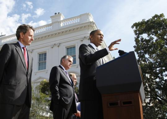 """America needs rebuilding,'' President Obama said yesterday in the Rose Garden, promoting his latest initiative."