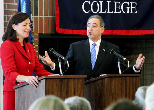 Republican Kelly Ayotte and Democrat Paul Hodes, candidates for Senate, debated yesterday in Henniker, N.H.