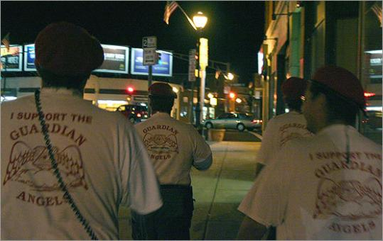 Vinny Cataldo, second from left, and three other Angels headed out for a patrol