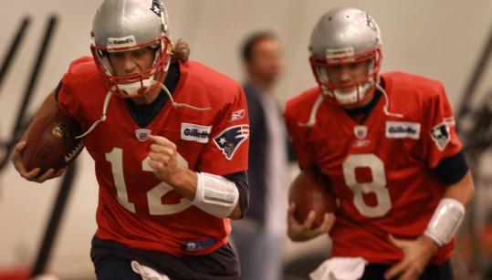 Though their targets have changed a bit, quarterbacks Tom Brady and Brian Hoyer (right) will be running the same stuff.