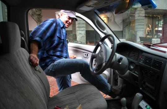 Jim Rohrer climbs in his truck after dropping off an order of clams to Kingfish Hall in Quincy Market. Clams were harvested in Wellfleet the day before.