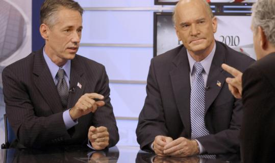 Jeffrey D. Perry and William Keating faced each other in a debate at NECN's studio yesterday.