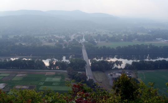 Farmland in the Connecticut River floodplain, as seen from Mount Sugarloaf.