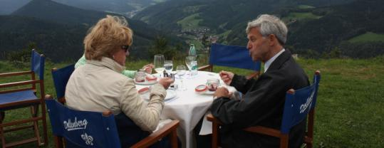 Shirley and Otto Distler take in a three-course meal and Rench Valley views.