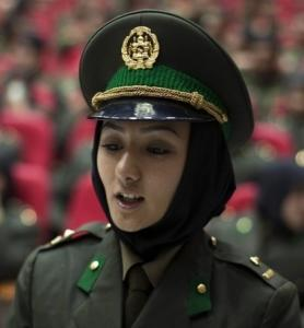 A new female soldier from the Afghan National Army attends a graduation ceremony in Kabul.