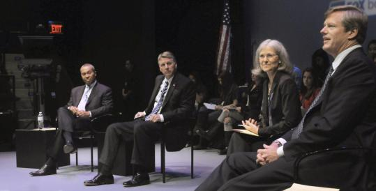 Candidates for governor (from left) Deval Patrick, Timothy P. Cahill, Jill Stein, and Charles D. Baker participated in a debate yesterday on the campus of Emerson College.