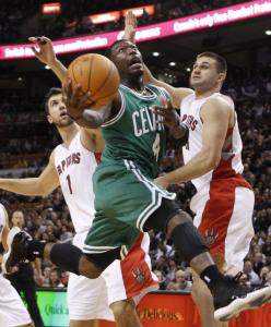 Celtic Nate Robinson had a big hand in a 117-112 win over Toronto, soaring for 23 points.