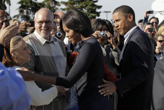 In their first joint campaign appearance since 2008, President Obama and his wife, Michelle, spoke to Ohio voters yesterday.