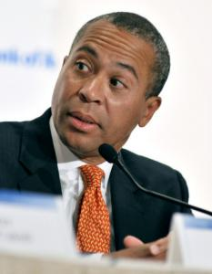 Governor Deval Patrick has repeatedly said his rival's Big Dig work worsened the MBTA's swelling debt.